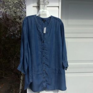 NWT Talbots Perfect For Leggings Blue Button Back